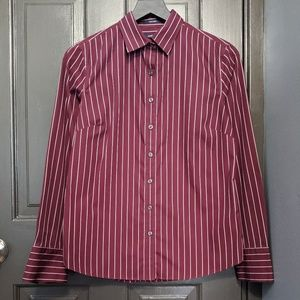Land's End Maroon and White Striped Button…